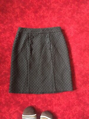 Review Size 10 Newly Condition Fully Line Black  Jacquard Spotted Pencil Skirt