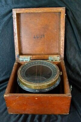 Antique Ship's Compass in Wooden Box (unrestored)