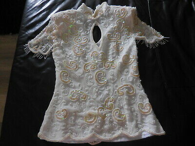 STUNNINGVintage PEARL & Sequin WHITE SILK LINED Top W/Zipper Shoulder Pads M NEW