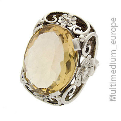 XXL Art Deco Silber Ring Citrin Blume silver ring gold topaz flower 🌺🌺🌺🌺🌺