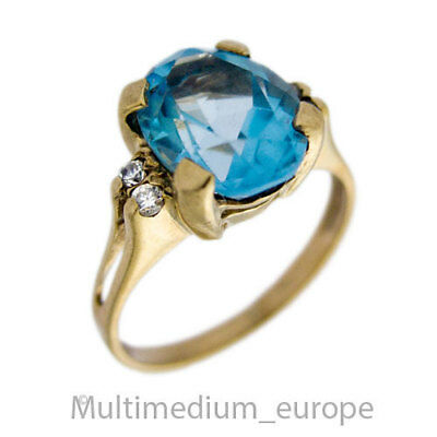 Vintage 333er Gelbgold Ring Blau Topas 8kt 8ct yellow gold blue topaz 🌺🌺🌺🌺🌺