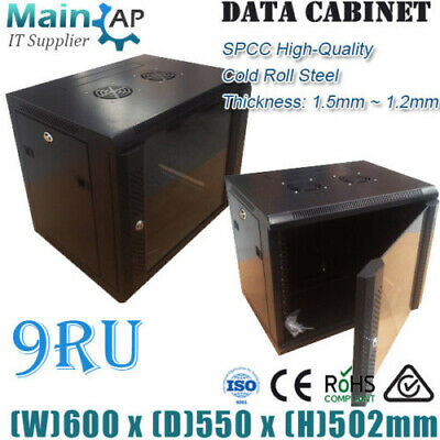 9RU 600x550mm Wall Mount Office Network Server Cabinet Single Section Combo