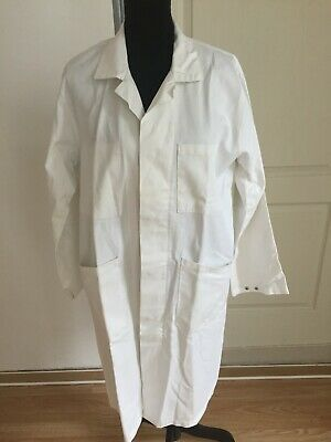 Vintage French 100% Cotton White Work Wear / Chore Jacket / Lab Coat (L)