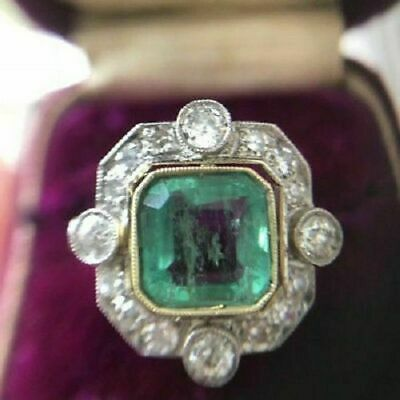 2.55 Ct Art Deco Antique Emerald Engagement Silver Ring Re-Production Circa 1850