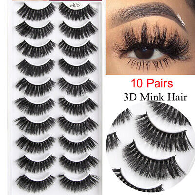10 Pairs 3D Mink Hair False Eyelashes Volume Long Curl Cross Lashes Extension