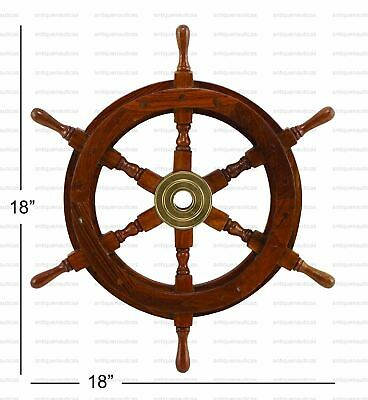 18 Inch Wooden Ship Wheel Pirate Steering Wall Boat Nautical Handmade Decor Gift
