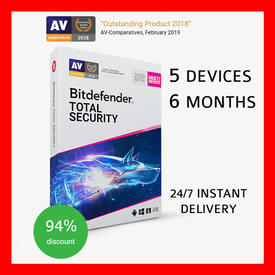 BitDefender Total Security 2020 5 Devices INSTANT DELIVERY