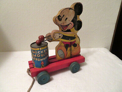 Vintage Mickey Mouse Drummer Pull Toy Walt Disney Productions AS IS
