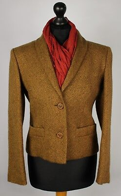 Tweed Country Blazer Jacket Brown Size 12 SUPERB VIBRANT COLOUR 1498