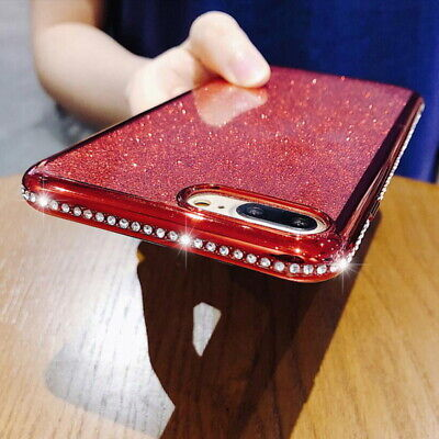 Shockproof Plating Bling Sparkling Diamond Rubber Silicone Soft Phone Case Cover