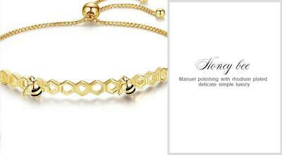 Honey Bee Bracelets and Rings In Yellow Gold Plated 925 Silver, Sweeter than Hon