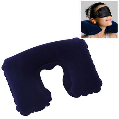 Travel Head Neck Rest Pillow Air Cushion Inflatable Support + Ear Plug Eye Mask