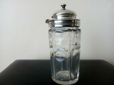 silver topped mustard pot. Hall marked E,E,J&W Good condition with hinged lid