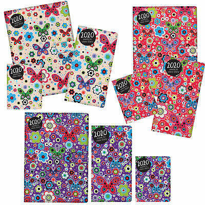 2020 Diary - Week to View - Padded PU Cover - Butterflies - Choose Size & Colour