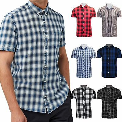 New Mens Ex-Store Shirt Short Sleeve Check 100% Cotton Summer Holiday Beach