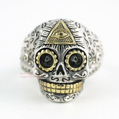 925 Sterling Silver Men Women Jewelry Evil Eye Sugar Skull Skeleton Ring A3713