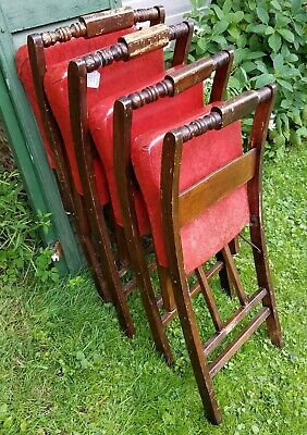 4 Vintage Folding Chairs- Wood & Red Vinyl