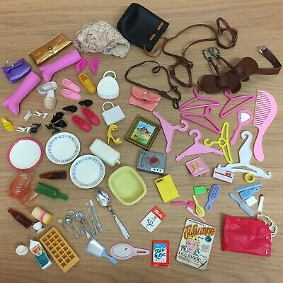 Vintage Barbie Sindy Tressy Other Doll Accessories - Kitchen Bags Hangers Saddle