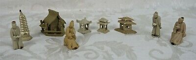 Vintage Collection Lot of Clay Mudmen Japanese Temple Pagoda Statues Sculptures