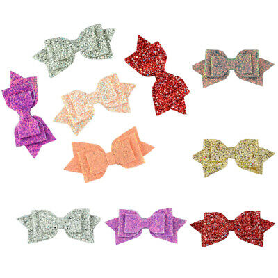 New Girls Hairpin Glitter Hair Clip Bow Beauty Sparkle sequins Kids Hairband