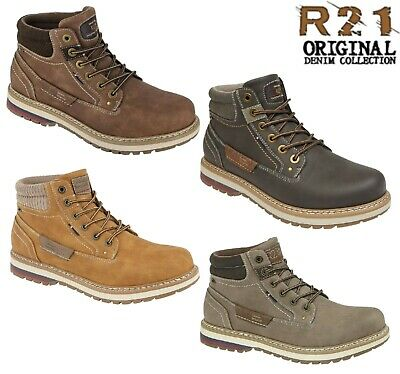 MENS CASUAL  Lace Up Padded Collar Ankle Boots - Brown Tan Size 6 7 8 9 10 11 12
