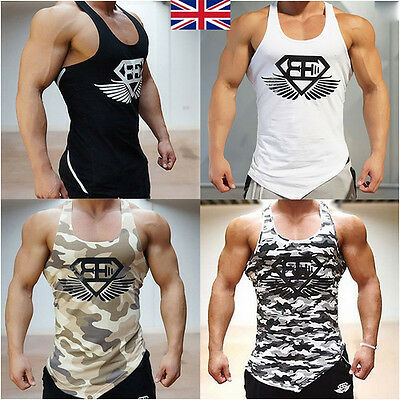 UK Men Bodybuilding Tank Tops Gym T-Shirts Muscle Sports Fitness Vest Sleeveless