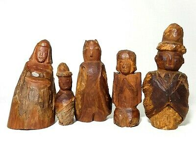 Bolivian Indigenous Vintage Native Folk Art, Hand Carved, 5 Piece Wooden Figures