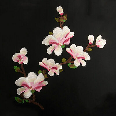 Magnolia Embroidered Blossom Flower Patch Iron/Sew on Soluble. Water Appliq Q5M4