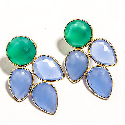 """925 Solid Silver Green Onyx,Blue Chalcedony Gold Plated  STUDS earring 1.33"""""""