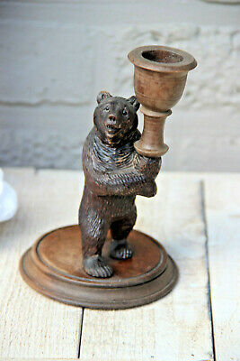 Large Antique hand Black forest wood carved swiss bear statue candle holder