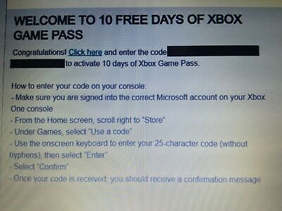 10 day XBOX Game Pass - New