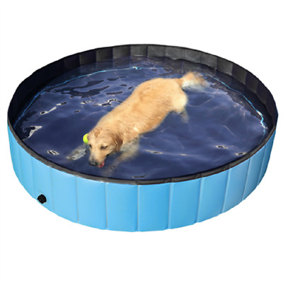 """Outdoor Foldable Pet Dog Swimming Pool, Blue, 63"""" L"""