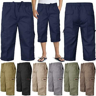 Men Elasticated 3/4 Long Chino Twill Shorts Cotton Cargo Pants - Clearance Price