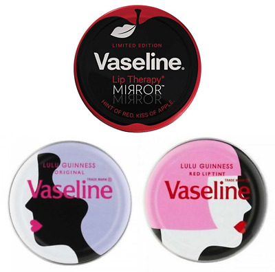 3x Vaseline Lip Therapy Limited Edition Tins Lulu Guinness Set
