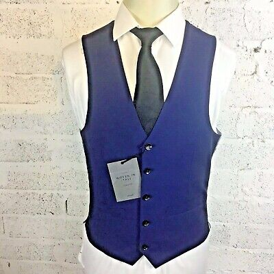 Mens John Lewis Woven in Italy Mohair Blue Tailored Fit Waistcoat RRP75 BNWT 38R