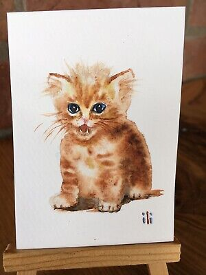 ACEO Original Watercolour Fine Artwork Cute Ginger Cat Kitten By ili