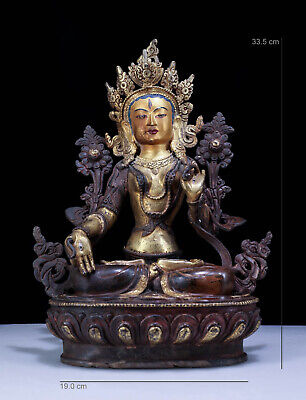 "13"" China Qing Dynasty antique Nepal bronze gilt gold painting White Tara statue"