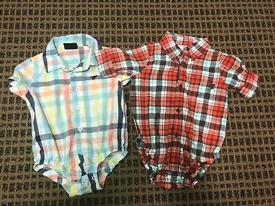 Carters Wranglers Baby Boy Red Pastel Plaid Button Bodysuits 6-9 Months Lot of 2