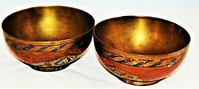 """VINTAGE SOLID BRASS SMALL HAND MADE DISHES/ BOWLS ETCHED DESIGN ...Size 5"""""""