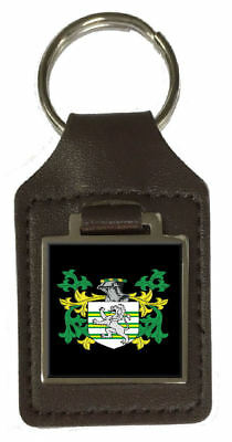 Furman Family Crest Surname Coat Of Arms Brown Leather Keyring Engraved