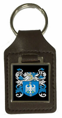 Tutton Family Crest Surname Coat Of Arms Brown Leather Keyring Engraved