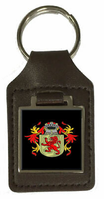 Matthews Family Crest Surname Coat Of Arms Brown Leather Keyring Engraved