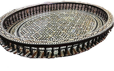Awesome Moroccan Handmade Beech wood Tray inlaid Mother of Pearl-high finish.
