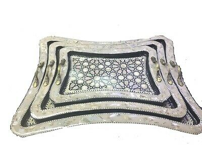 Awesome Moroccan Handmade 3 Trays inlaid Mother of Pearl