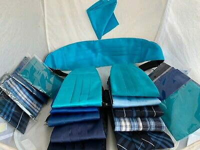 < NEW > Any from 11 Shades of BLUE of Mens Polyester Cummerbund + Matching Hanky