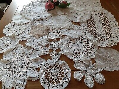 20 X Vintage Crochet/Lace Doilies.for Weddings/Crafts/Displays.