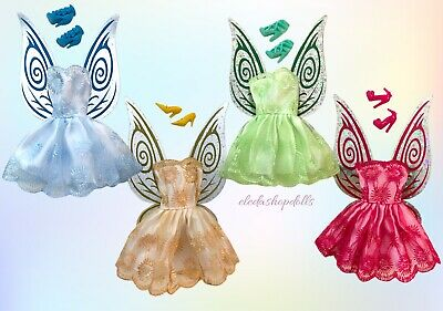 Barbie Doll Clothes Lot Dress Up 3 Fairy Wings Dress Shoes Set Holographic Wings