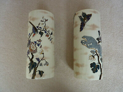 Pair of ceramic cylinder vases by Keller & Guerin dated about 1875-85.