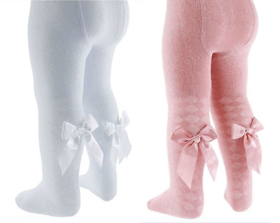 Baby girl TIGHTS diamond BOWS Spanish style rose gold PINK WHITE
