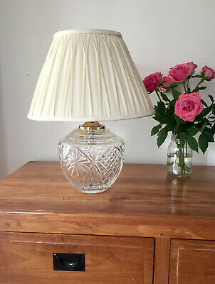 Vintage Irish Lead Crystal Table Lamp 'Tyrone' signed Cut Glass & Brass fitting
